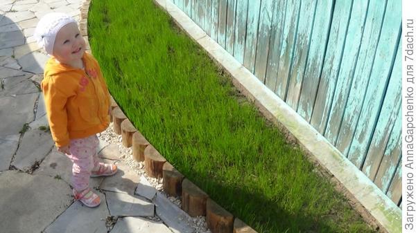 Ребенок гуляет в саду рядом с газоном