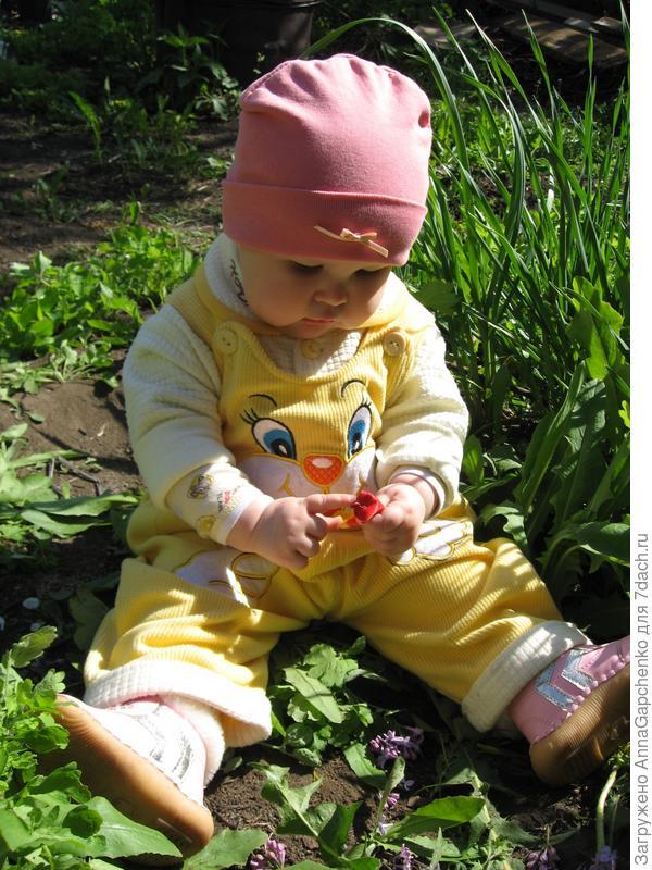 Ребенок изучает листочек от тюльпана