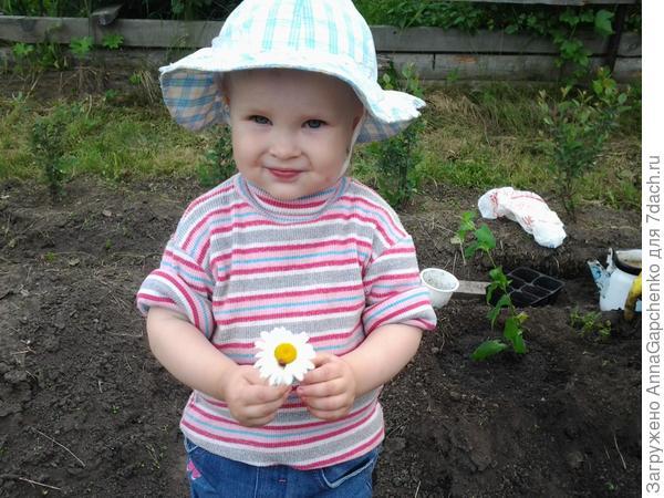 Ребенок держит цветок с букашкой
