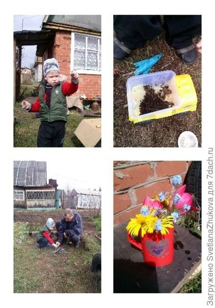 дачные забавы:дождевые червяки,разведение костра,букет для мамы