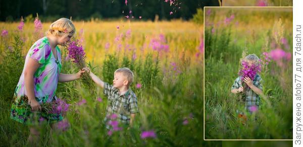 Мои дети Наталия и Мишутка в полях Иван-чая