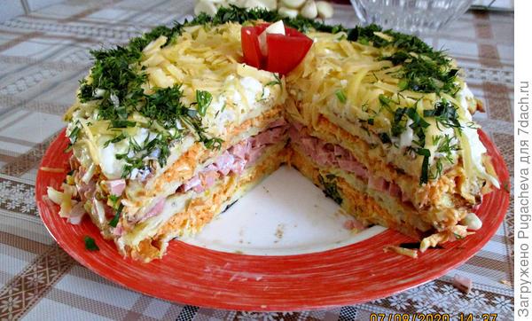Закусочный торт из кабачков с тремя начинками. Пошаговый рецепт приготовления с фото
