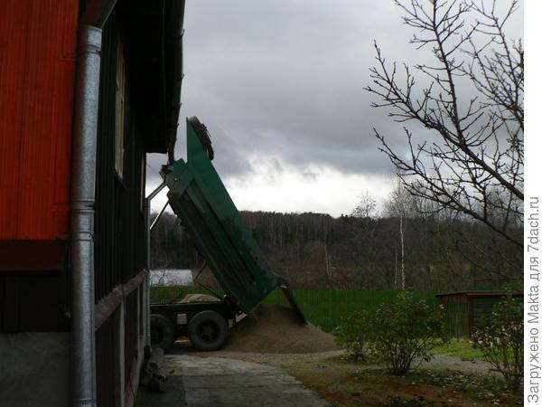 подсыпка площадки у гаража