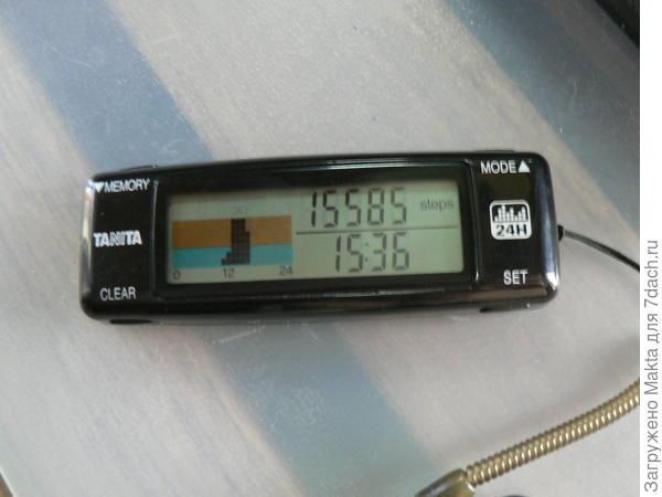 Показатель количества пройденных шагов в верхней строчке дисплея