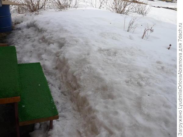 У крыльца дома - большая куча снега!