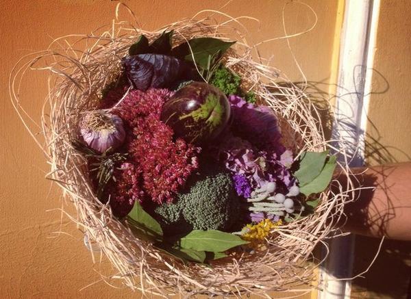 Букет с баклажаном, чесноком, розмарином, лавровым листом, брокколи и фиолетовой капустой. Фото с сайта https://vk.com/o_horosho