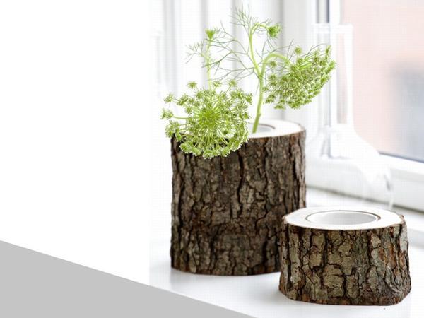 Спил бревна тоже может стать отличным кашпо. Фото с сайта http://www.edilportale.com
