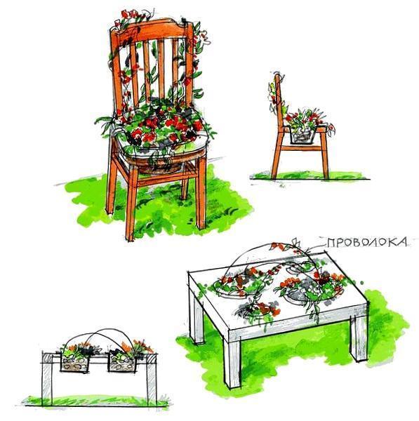 Вам потребуются старые предметы мебели и немного фантазии