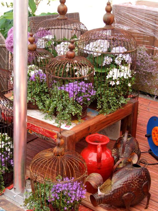 Контейнерный сад в птичьих клетках