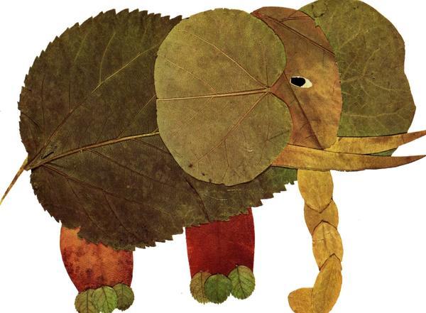 Аппликация из листьев. Фото: capitalkoala.com