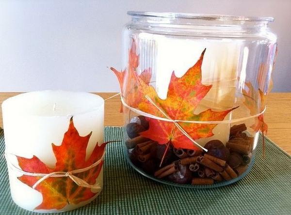 Подсвечник, декорированный осенними листьями. Фото: http://decorwind.ru