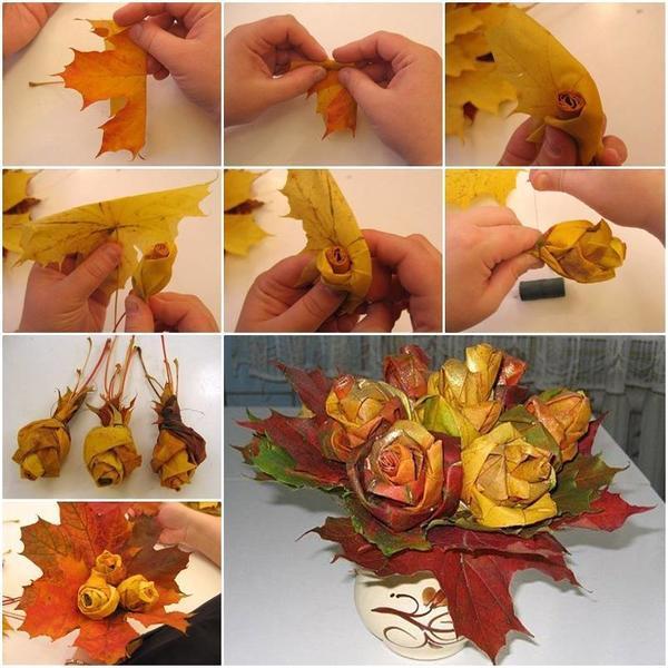 Розы из кленовых листьев. Фото: http://www.icreativeideas.com