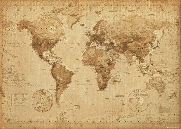 Карта мира в стиле ретро. Фото с сайта http://www.empireposter.de