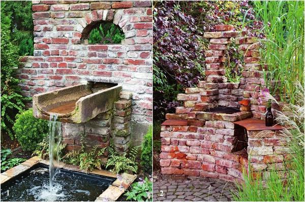 1. Водоем в стене и 2. Печь из старых кирпичей
