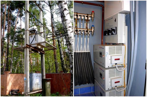 Слева: Центр электроснабжения небольшого поселка - масляный трансформатор Справа: Источник бесперебойного питания. Фото В. Черномашенцева