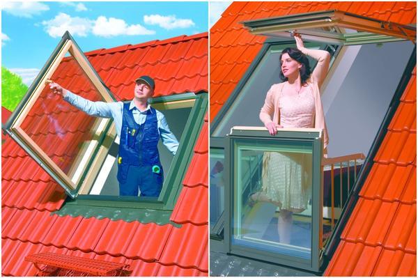 Слева: мансардное окно. Справа: мансардное окно-балкон. Фото: Факро