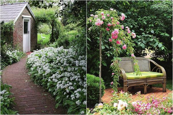 Слева: садовые пути-дорожки стоит сначала наметить на плане, а уже потом проложить на участке. Справа: пожилым членам семьи нужна уютная скамейка.