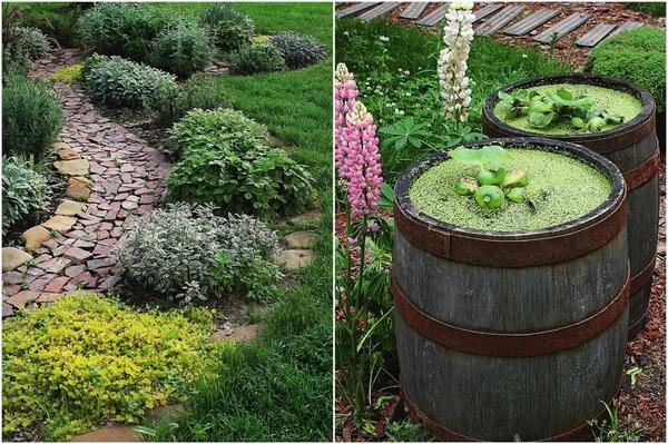 Слева: Кустарники  лучше подбирать с учетом вкусовых пристрастий не только хозяина, но и самих растений. Справа: Обыкновенные бочки совсем несложно превратить в миниатюрные водоемы.