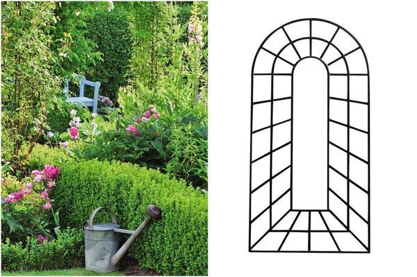 Слева: Покрытые зеленью опоры для растений создают вертикальные структуры и причудливую игру теней. Справа: Оптическую иллюзию создаст решетка для вьющихся растений, сконструированная так, будто она не плоская, а объемная.