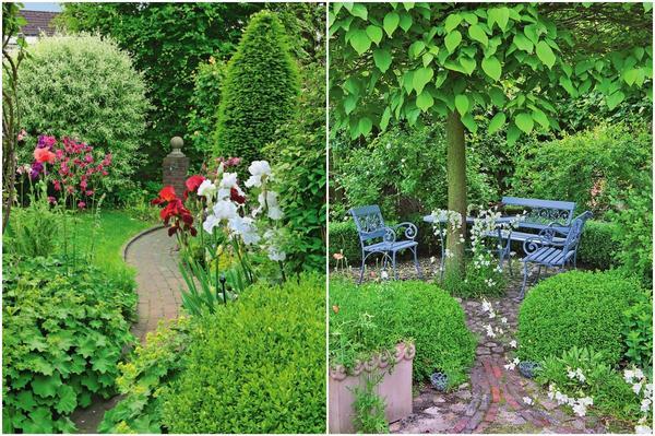 Слева: Тропинка, скрывающаяся за поворотом, по-настоящему интригует. Справа: К укромному месту для отдыха под деревьями ведет несколько узких дорожек. Особую прелесть этому уголку сада придают два кустика самшита, обозначающие вход в эту зону.