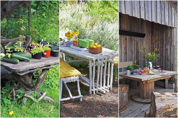 Слева: Все поверхности деревянного столика нужно обработать защитной пропиткой. В центре: Мебель из тонких стволов, выкрашенных специальной краской, дождика не боится! Справа: Из катушки от кабеля получится отличное изножье для садового столика.