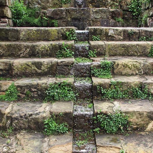 Оформление для садовой лестницы может быть разнообразным и весьма живописным