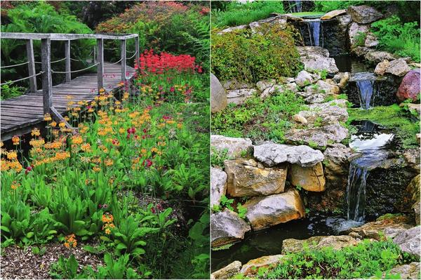 Слева: Мостики — находка для любого сада. Справа: Естественный водопад сделает пейзаж участка более динамичным, а его приятное журчание поможет расслабиться.