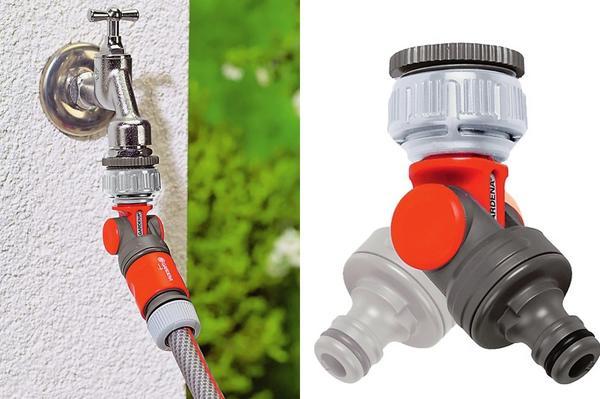 Слева: Чтобы доставить воду туда, где она необходима, нужна система. Справа: Штуцер шарнирный Gardena надежно соединяет шланг с водопроводным краном.