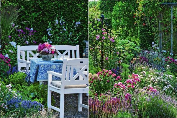 Слева: Уголок, спрятанный за перголой с вьющимися растениями, создает ощущение покоя и защищенности. Справа: Так приятно с комфортом устроиться в симпатичной беседке и наслаждаться созерцанием любимых цветов.