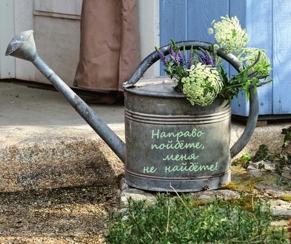 Старая цинковая лейка в качестве садовой таблички