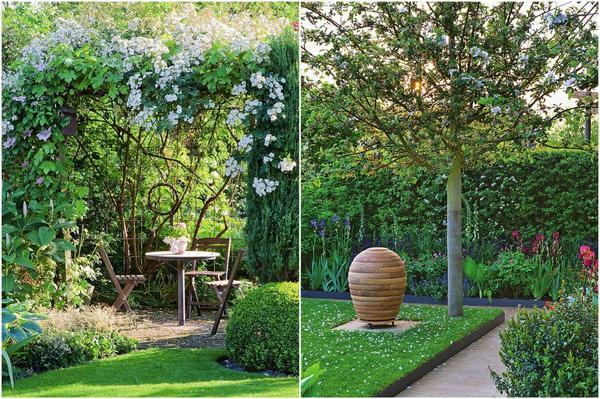 Слева: Кованую беседку увивает плетистая роза Seagull, эффектно выделяя место отдыха. Справа: Даже на совсем крохотном участке стоит посадить дерево.