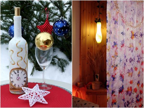 Слева: бутылка шампанского с праздничным декором. Справа: фантазийная ширма.