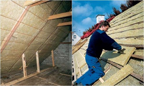 Слева: плиты утеплителя устанавливают в пространство между стропил. Справа: дополнительный слой утепления поверх стропил. Фото: Rockwool.