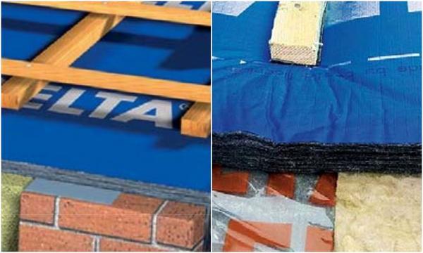 Теплоизолировать стык крыши с фронтоном можно при помощи гидроизоляционной мембраны, в которую интегрирован утеплитель из нетканого материала. Фото: Dörken.