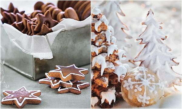 Сложите звездочки разной величины одну на другую и залейте сахарной глазурью.
