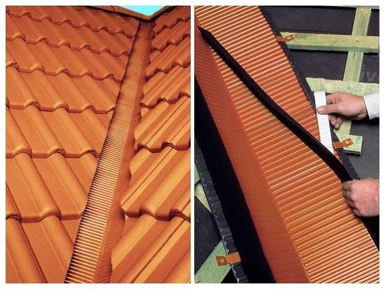 Слева: Желобок для устройства ендовы черепичной крыши. Справа: Самоклеящаяся поролоновая полоса для защиты от снега, грязи и воды. Фото: braas.ru