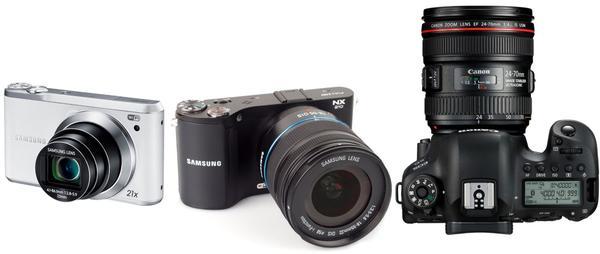 Слева направо: компактная, системная и зеркальная фотокамеры