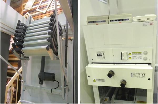 """Слева: электромеханический привод чердачной лестницы. Справа: Воздухонагревательный агрегат. 2 черных патрубка — для подводки и """"обратки"""" теплой воды"""