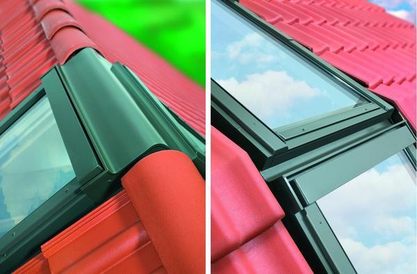 Слева: коньковый комплекс мансардных окон. Справа: установка окон на изломе мансардной крыши. Фото с сайта fakro.ru