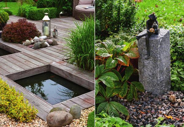 Слева: посреди деревянного настила вырезаны прямоугольные отверстия, в которых теперь располагаются мини-пруды и обитают растения. Такая креативная идея прекрасно подходит для оформления террасы. Справа: садовые фонтаны бывают на любой вкус и цвет, причем многие из них не занимают много места и просты в сборке