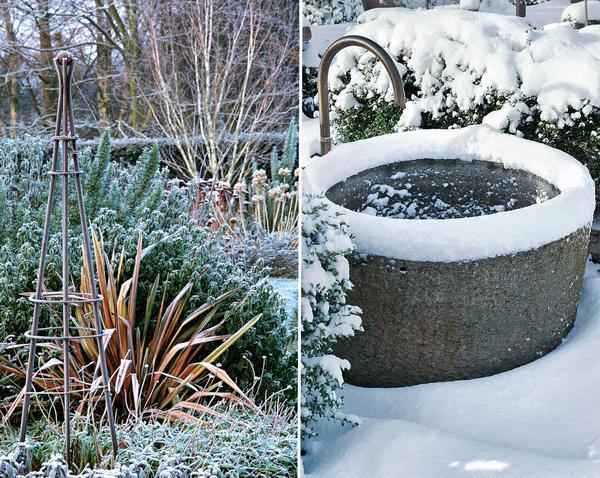 Слева: многие декоративные травы стоит оставить без обрезки до весны. Справа: четкая геометрия элементов оформления (например, круглый водоем) составляет идеальный контраст кустарникам с плавными от природы контурами