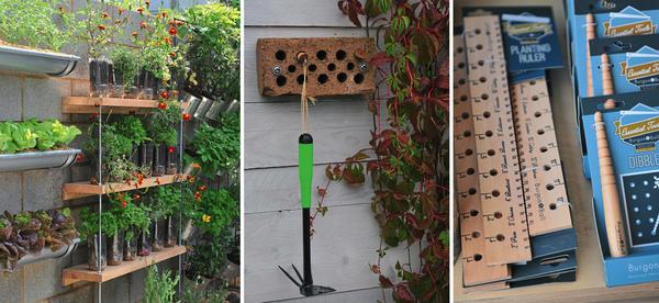 Слева: 12 - зелень на заборе. В центре: 13 - камера хранения для малогабаритных инструментов. Справа: 14 - линейки для посева семян