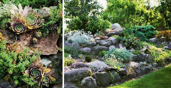 Сторонники минимализма могут украсить лужайку живописным валуном или скалой, а еще - сочинить лаконичный рокарий