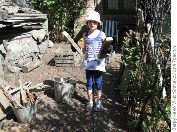 Внучка Даша на заготовке дров.