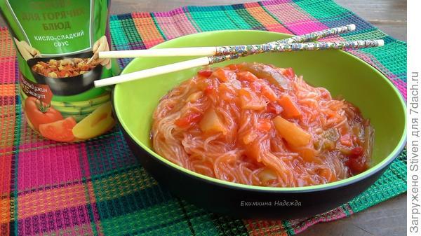 Рисовая лапша с соусом