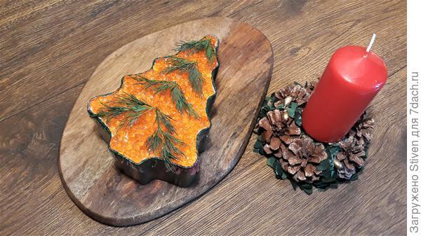 Новогодний салат; Царская шуба на форели в форме ёлки; пошаговый рецепт приготовления с фото