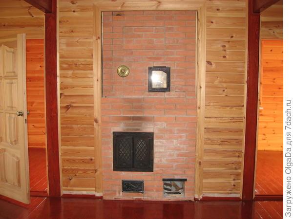 печь с каминной дверью и духовкой