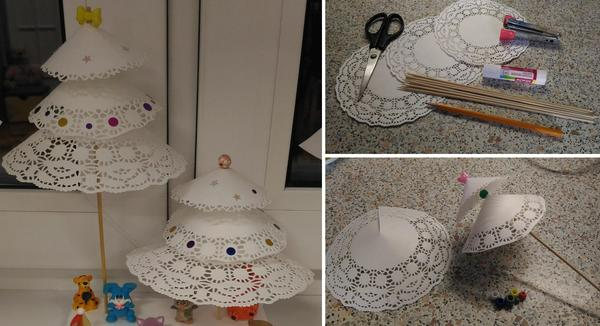 Декоративные елочки из салфеток