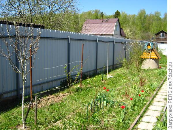 Внешний вид проводки на заборе