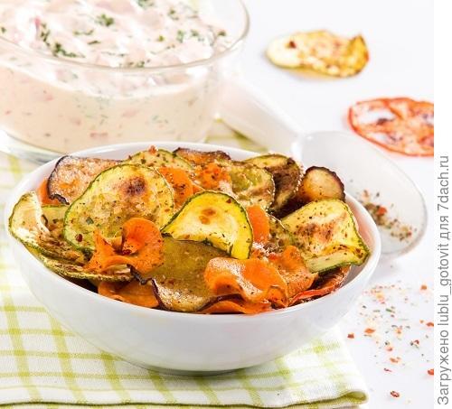 Чипсы из овощей: баклажанов, кабачков, помидоров и моркови